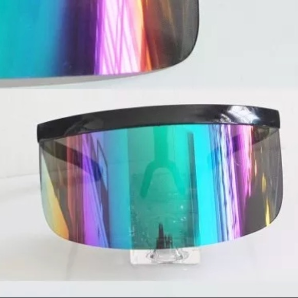 b4fe9b9a61 Rainbow visor sunglasses hologram iridescent rave